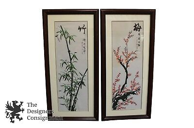 """2 Japanese Embroidered Florals on Linen Plum Tree & Bamboo Pair Art Oriental 28"""""""