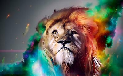 Lion Abstract Water Colour Art Giant Poster - A5 A4 A3 A2 A1 A0 Sizes