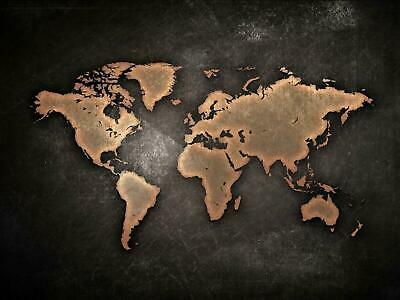 World Map Earth Giant Poster Print Black - A5 A4 A3 A2 A1 A0 Sizes
