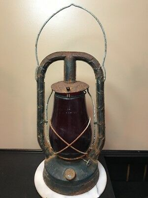 Antique Kerosene Lantern With Red Glass From 1923 Monarch&Dietz.Syracuse.NY