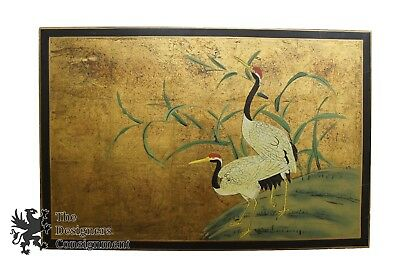 Chinese Realist Painting Cranes on Board Gilded Wall Art Landscape Vintage 30""