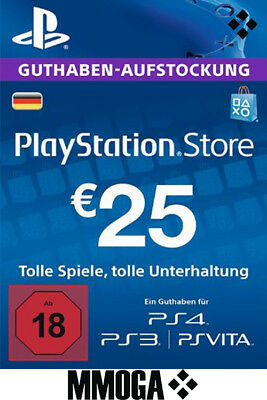 25 EURO PlayStation Guthaben Key - 25€ Eur PSN Network Code PS3 PS4 PS Vita - DE