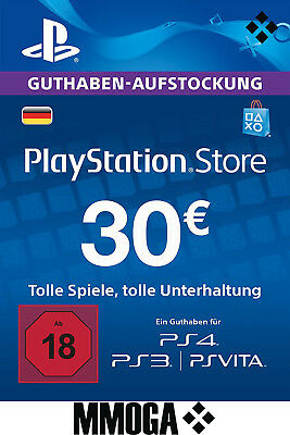 30 EURO PlayStation Guthaben Key - 30€ Eur PSN Network Code PS3 PS4 PS Vita - DE