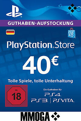 40 EURO PlayStation Guthaben Key - 40€ Eur PSN Network Code PS3 PS4 PS Vita - DE
