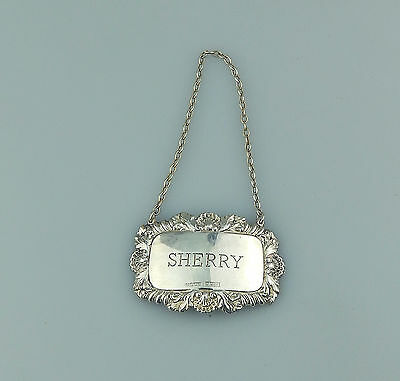 Vintage Solid Silver : Sherry Decanter Label - full English Assay marks C.1995