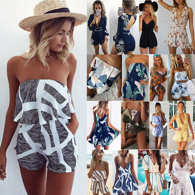 UK Womens Holiday Mini Playsuit Ladies Jumpsuit Summer Beach Dress Size 6 - 18