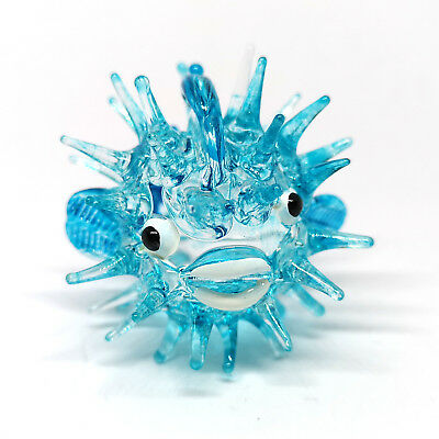 Tiny Aquarium MINIATURE HAND BLOWN GLASS Blue Puffer Fish FIGURINE Collection