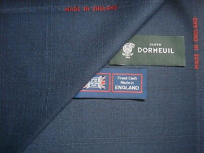 """DORMEUIL 100% WOOL SUITING FABRIC IN NAVY """"Check"""" DESIGN MADE IN ENGLAND- 3.4 m."""