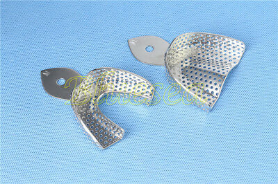 2x Dental Stainless Steel Metal Middle Impression Trays Perforated Autoclavable