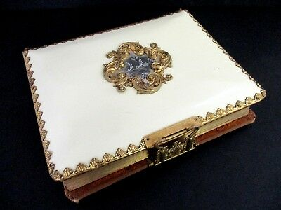Antique Vintage Celluloid Victorian Ornate Clasp PHOTO ALBUM Metal Gold Trim