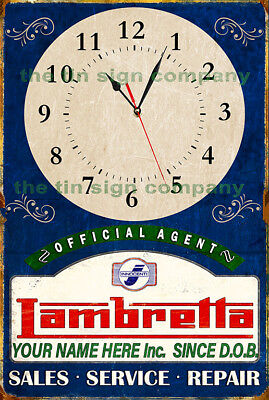 Lambretta Official Agent Personalised Wall Clock. Great Gift For Any Mod