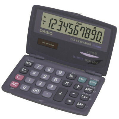 Casio Folding Pocket Calculator Large 10 Digit Display Tax Function Compact