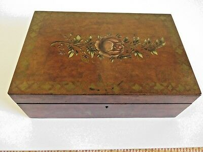Antique English Lap Wood Writing Desk Hand Painted Good Condition