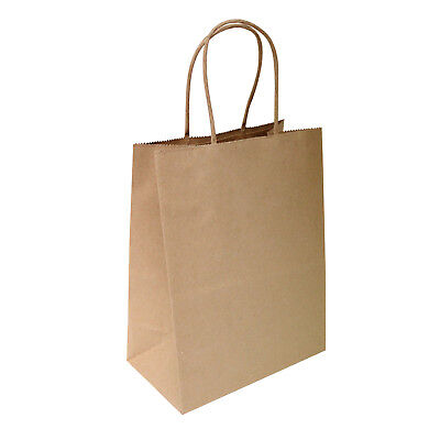 "8""x4.75""x10.5 Brown Kraft Paper Bags, Shopping, Merchandise, Party, Gift Bags"