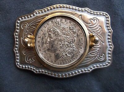 Vintage Antique Brass Belt Buckle with Authentic 1889 Morgan Dollar