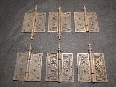 "Lot of Matching Antique Highly Decorative Eastlake Door Hinges Parts 4"" x 4"""