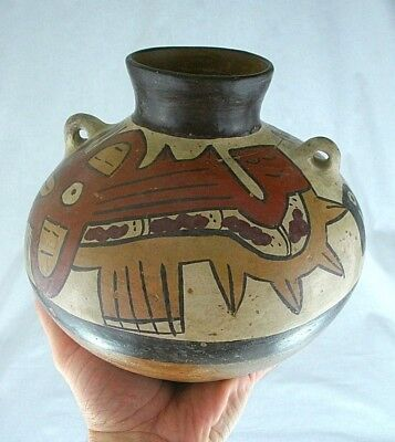 Large Authentic Pre Columbian Nazca polycrome Pottery w/Motif 200-400 A D Relic