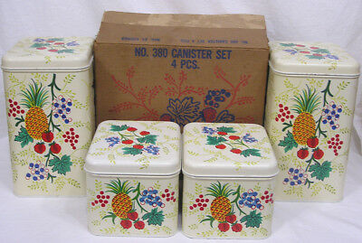 Vtg Cheinco Tin Canister Set Unused in Box Grapes Strawberries