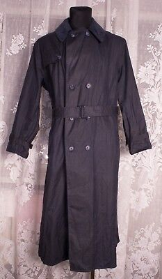 Men's Barbour Trench Coat A605 Blue Jacket Size C42 / 107cm Genuine Casual Waxed