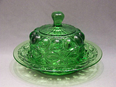 vintage Glass Butter dish with lid Round  Eyewinker Pattern Green