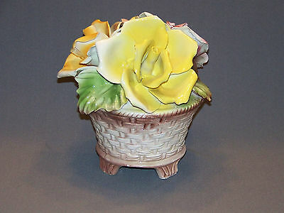 Vintage Capodimonte Roses centrpiece porcelain flowers made in France