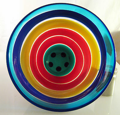 "1997 Salviati Glass Bowl By Berit Johansen Rainbow Color Stripes 5"" High"