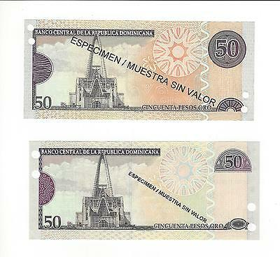 Dominican Republic 2008  Two Different Type 50 Pesos Same Year  Specimens