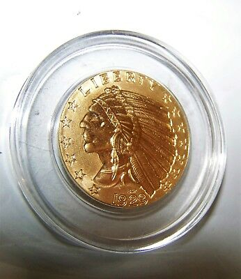Fantasy Coin 1929 Gold Plated US Five D Dollars Proof Copy Indian Head Dbl Eagle