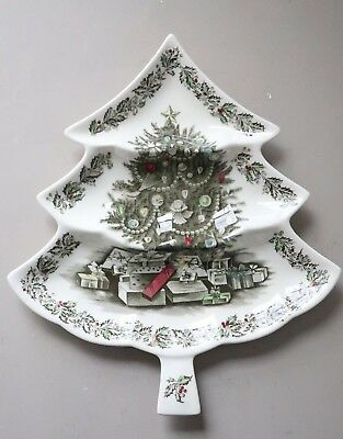 """Johnson Brothers Merry Christmas 3-Part Relish Tree Shaped Divided Dish 14"""""""