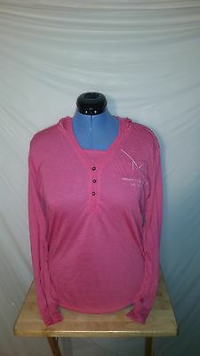 NWOT Womens M Resort Spa Casino Las Vegas Hooded Pink Long Sleeve Shirt S