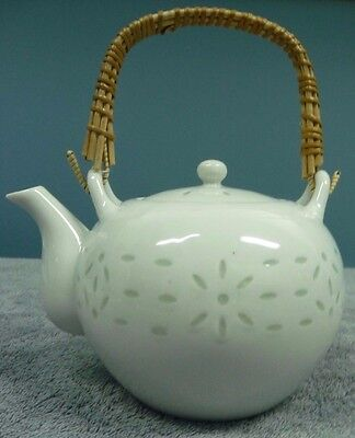 Vintage Japanese White Teapot With Green Flower Design Bamboo Handle