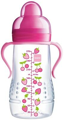 MAM Baby Hold Me Bottle With Spout & Handles 270ml Pink 6 Months+