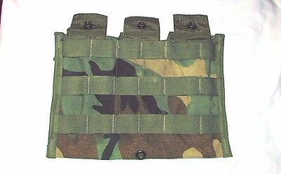 US ARMY SURPLUS MOLLE II WC WOODLAND CAMO 3 x 30 ROUND MAG AMMO POUCH SHINGLE VG