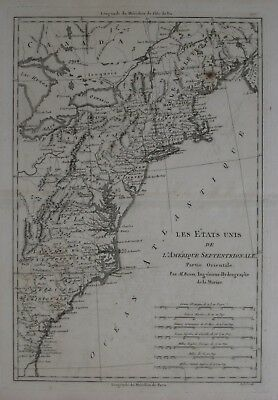 Original 1788 Bonne Map EASTERN UNITED STATES Forts Indian Tribes Maine Florida
