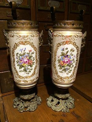 Antique Sevres Style pair Ornate Hand Painted Gilt Bronze Vases