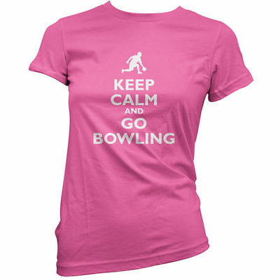 Keep Calm and Go Bowling - Womens / Ladies T-Shirt - Ten Pin - Bowl - 11 Colours