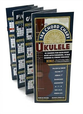144 Chord Chart for Ukulele (Deluxe Folding Edition) by Glowfly Press
