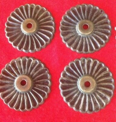 Vintage Mid Century Back Plates (4) For Door Knobs Brass Medallion Style W/screw