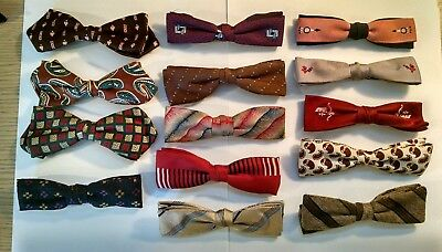 14 VINTAGE MENS BOW TIE LOT 1950s - 60s ORMOND ROYAL RUST RESISTANT BEAU CLIP ON