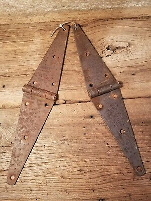 """Matching Pair of Vintage 16"""" Barn Hinges Rusty Works Well! Primitive"""