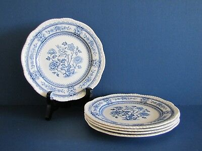 Wood & Sons DORSET BLUE (SCALLOP) Bread & Butter Plates - Set of 5 - Ex Cond