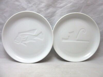 2x Brooklyn Museum BLOCK Vista Alegre olive oil plates. Portugal