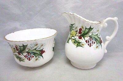 Hammersley & Co fine bone china creamer, sugar bowl. Christmas Holly
