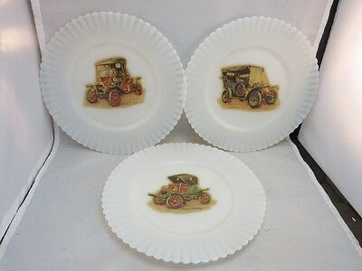 3 vtg white milk glass plates.Antique cars decals.Ford, Stanhope, & Studebaker