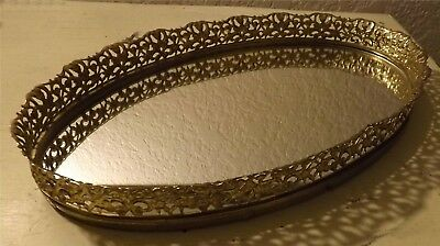 Vintage Oval Vanity  Scalloped Gold Metal Tray