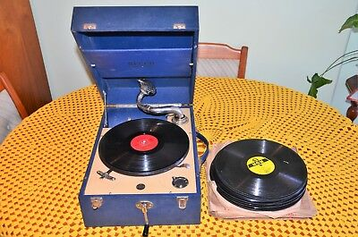 Vintage DECCA 50 portable gramophone and approx 200 Records
