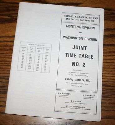 Chicago, Milwaukee, St. Paul And Pacific Railroad Co. Time Table  # 2  1977