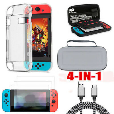 Accessories Case Bag+Shell Cover+Charging Cable+Protector for Nintendo Switch UW