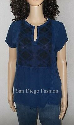 Lucky Brand L NEW Navy Blue Embroidered Knit Pullover Cotton Tee Top 10 12