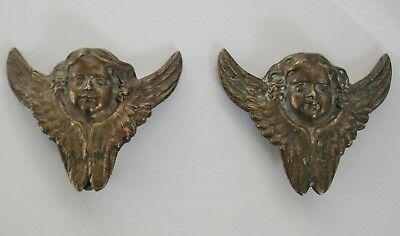 Antique VICTORIAN Era Solid Brass ANGELS Cupids w/ WINGS Drawer Pulls ? SALVAGE